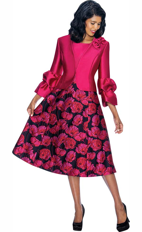 Nubiano Dresses DN3242 Floral Print Dress With Bow & Double Layer Cuff Jacket