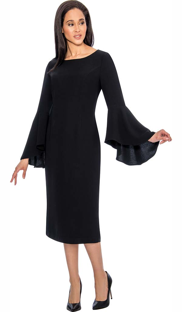 Nubiano Dresses DN3781-Black - Sheath Dress With Flare Sleeve Design