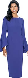 Nubiano Dresses DN3781-Purple - Sheath Dress With Flare Sleeve Design