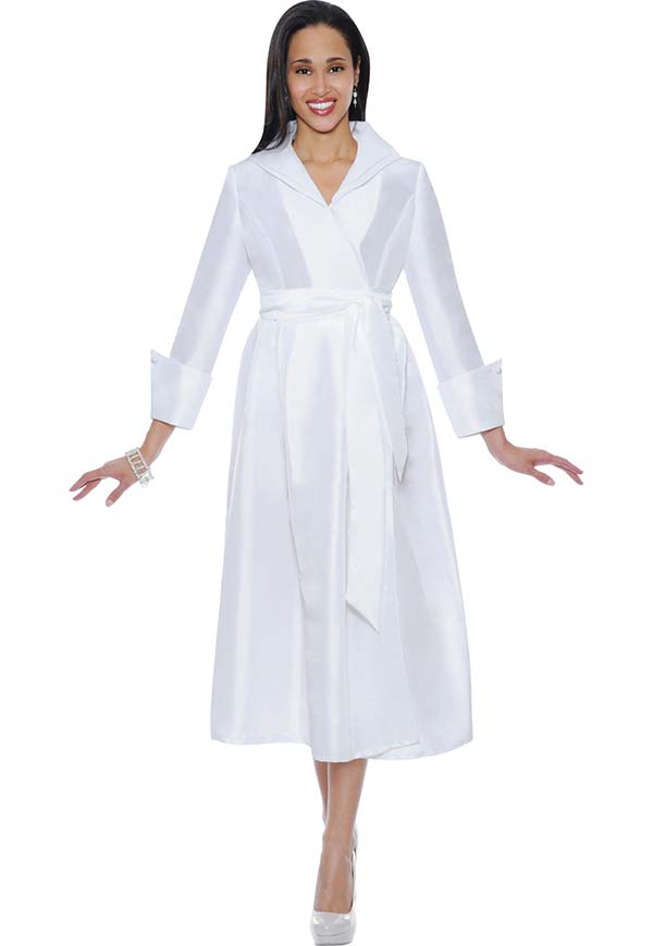 Nubiano Dresses DN5371-White - Wing Collar Pleated Wrap Dress With Sash