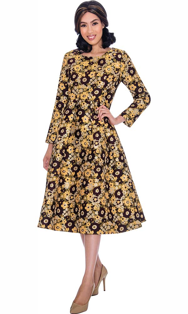 Nubiano Dresses DN2621 - Pleated Bell Dress In Multi Color Floral Print