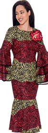 Nubiano Dresses DN2711 - Abstract Animal Print Dress With Layered Bell Sleeves & Fabric Flower Brooch