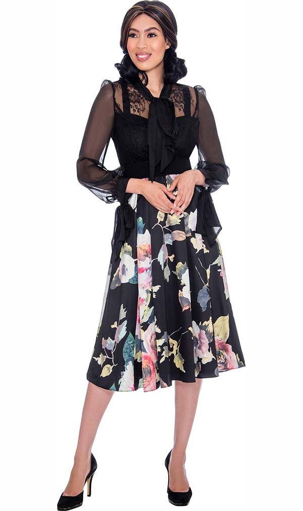 Nubiano Dresses DN2731 - Pleated Floral Dress With Organza Sleeves And Yoke