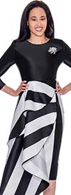 Nubiano Dresses DN2751 - Striped Design Layered Womens Church Dress With Bell Cuff Sleeves