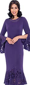 Nubiano Dresses DN2761 - Embellished Womens Church Dress With Cut-Out Design Flounce Hem & Sleeve Cuffs