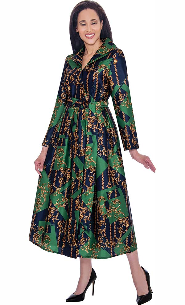 Nubiano Dresses DN2791 - Ladies Pleated Dress in Abstract Print Design