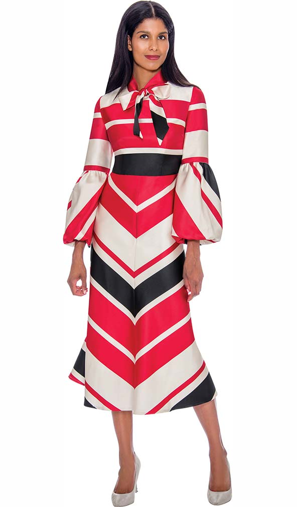 Nubiano Dresses DN2811 - Flared Dress In Striped Print With Neckline Bow And Puff Cuff Sleeves