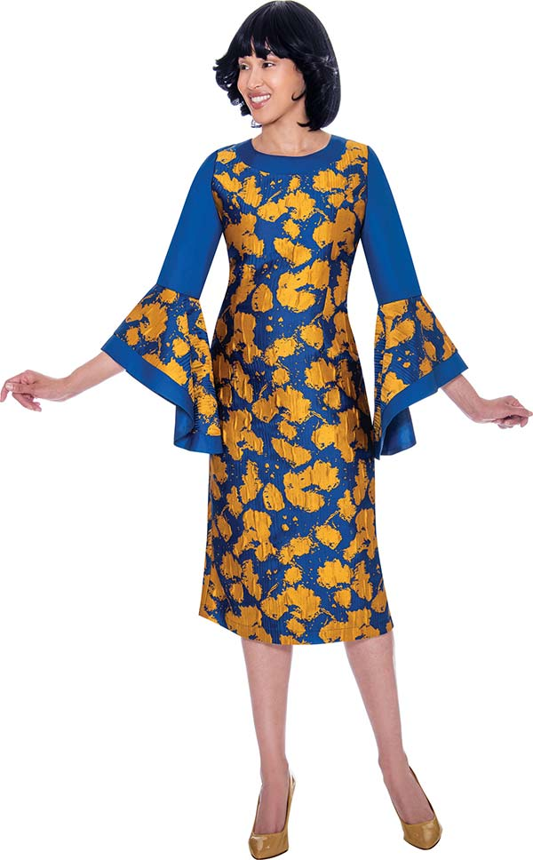 Nubiano Dresses DN2841 - Womens Dress With Wide Bell Sleeve Cuffs And Gold Leaf Look Accent Design