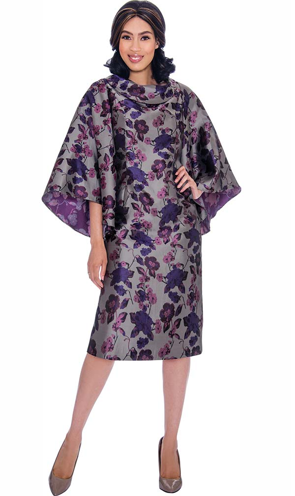 Nubiano Dresses DN2851 - Floral Print Rolled Collar Dress With Angel Sleeves
