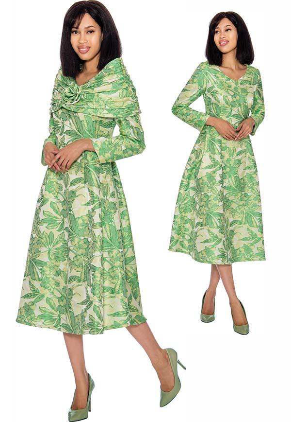 Nubiano Dresses DN2862 - Floral Print Dress With Detachable Over Shoulder Portrait Collar