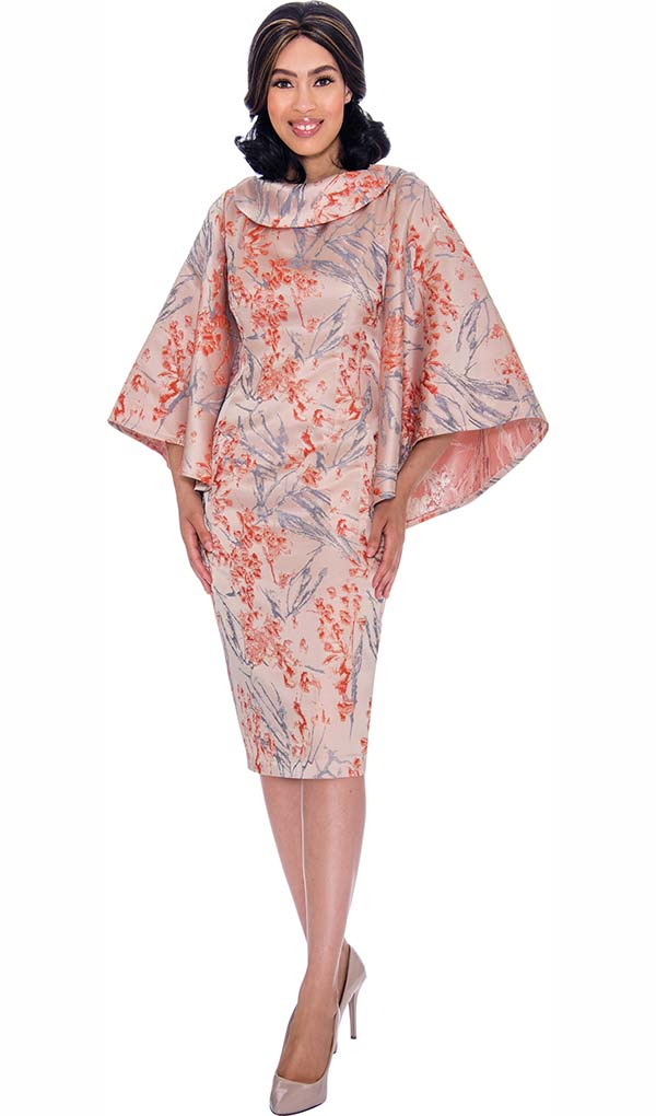 Nubiano Dresses DN2871 - Rolled Collar Dress With Angel Sleeves In Floral Print Design