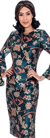 Nubiano Dresses DN2911-Green - Intricately Printed Church Dress With Wide Bell Sleeves