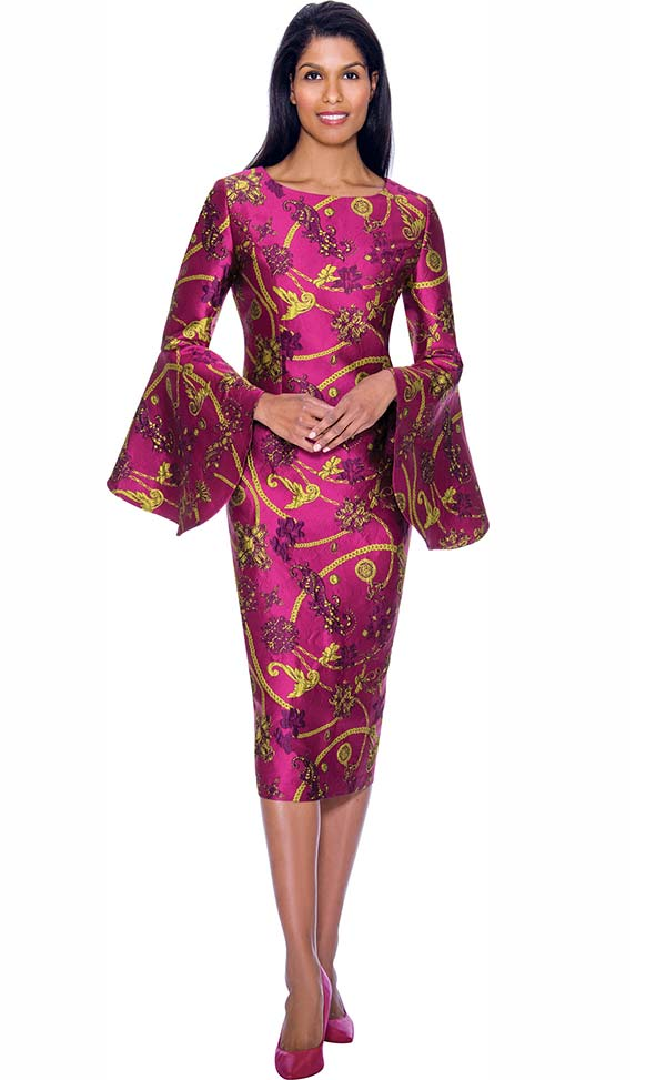 Nubiano Dresses DN2911-Violet - Intricately Printed Church Dress With Wide Bell Sleeves