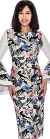 Nubiano Dresses DN2951 - Sheath Dress With Wide Bell Sleeve Cuffs And Floral Print Design