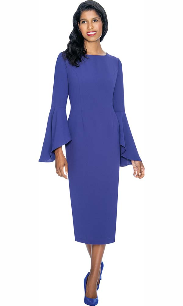 Nubiano Dresses DN3781-Purple - Sheath Dress With Flare Sleeve Design