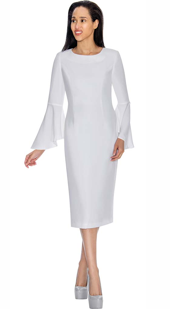 Nubiano Dresses DN3781-White - Sheath Dress With Flare Sleeve Design