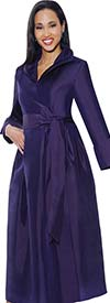 Clearance Nubiano Dresses DN5371-Purple - Wing Collar Pleated Wrap Dress With Sash