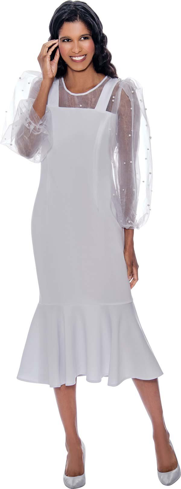 Nubiano Dresses DN1961 - Flounce Hemline Dress With Mesh Yoke And Bead Details