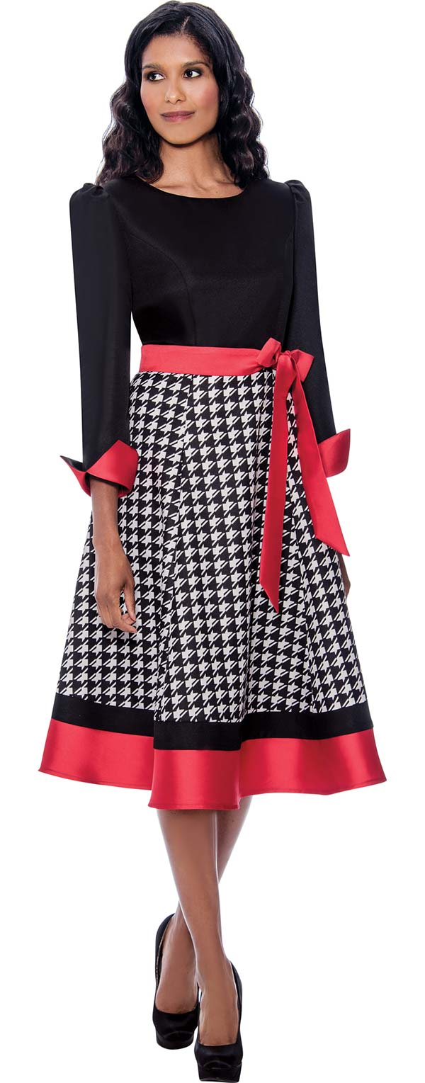 Nubiano Dresses DN1991 - Womens Solid Bodice And Houndstooth Pattern Dress With Sash