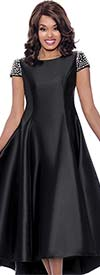 Nubiano Dresses DN2001-Black - Pearl Embellished Cap Sleeve High-Low Dress