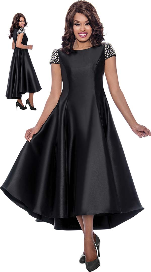 Nubiano Dresses DN2001 - Pearl Embellished Cap Sleeve High-Low Dress