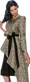 Nubiano Dresses DN2181 - Womens Half Peplum Waistline Detail Animal Print Dress With Sash
