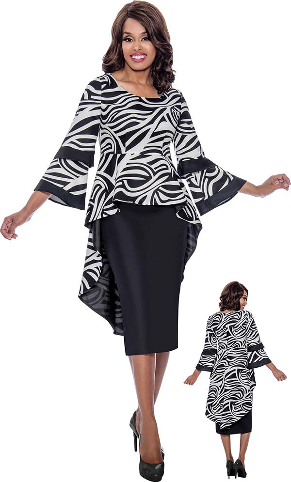 Nubiano Dresses DN2241 - Printed High-Low Peplum Dress With Bell Sleeves