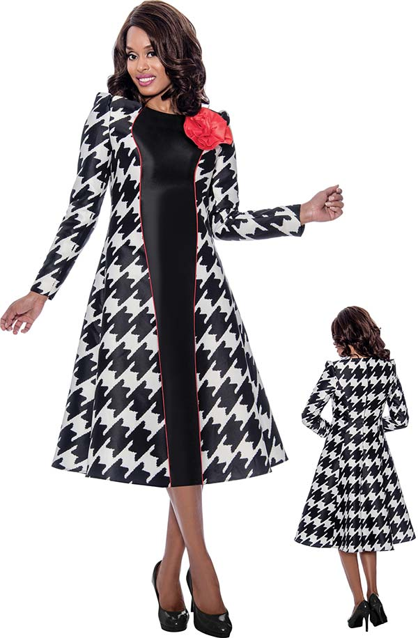 Nubiano Dresses DN2301 - Long Sleeve Womens Dress In Expanded Houndstooth Print With Flower Adornment