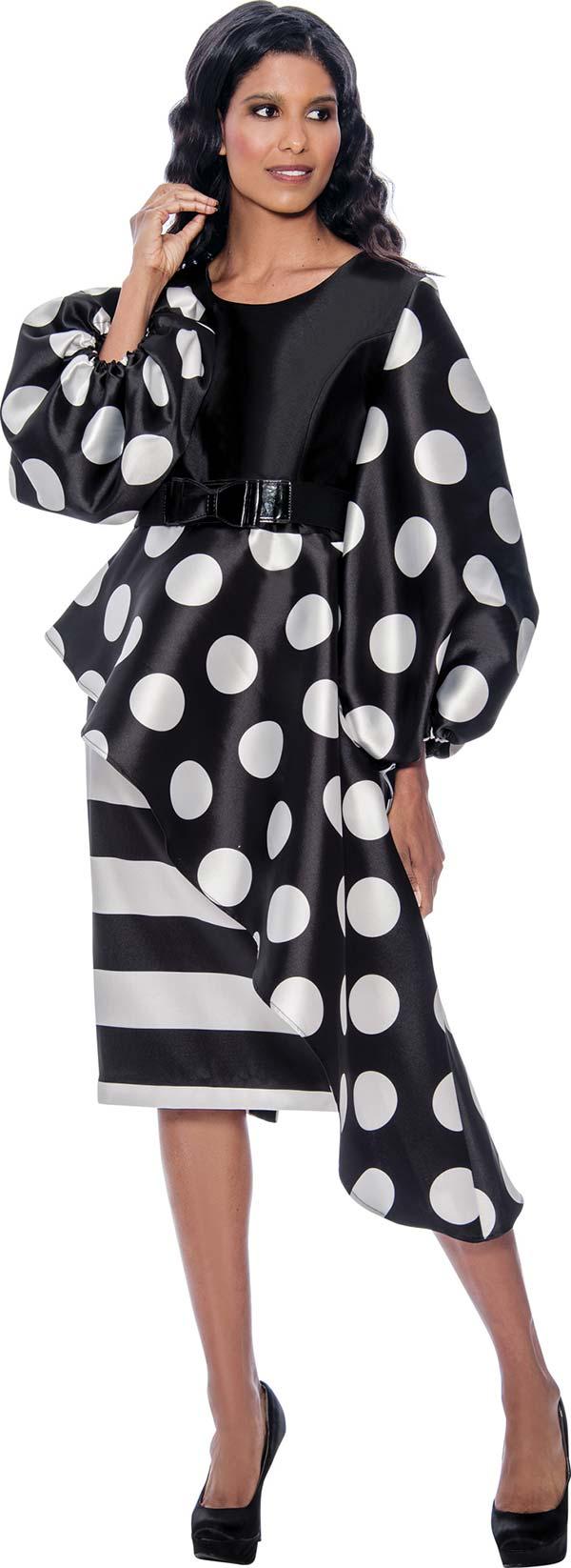 Nubiano Dresses DN2521-BlackWhite - Polka Dot & Stripe Print Half Peplum Dress With Belt