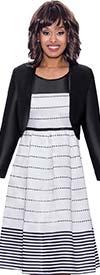 Nubiano Dresses DN1512 - Polka-Dot Stripe Print Design Dress With Bolero Style Jacket