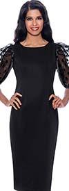 Nubiano Dresses DN1581 - Sheath Dress With Polka-Dot Mesh Design Puff Sleeves