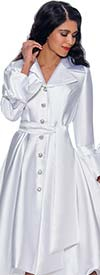 Nubiano Dresses DN1601 - Button Front Notch Lapel Dress With Sash And Ribbon Bow Sleeves