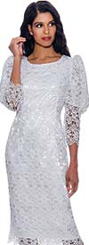 Nubiano Dresses DN1611 - Lace Design Sheath Dress With Three Quarter Length Upper Puff Sleeves