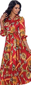 Nubiano Dresses DN1621 - Multi-Print Design Shirt Collar Dress With Cuffled Sleeves And Sash