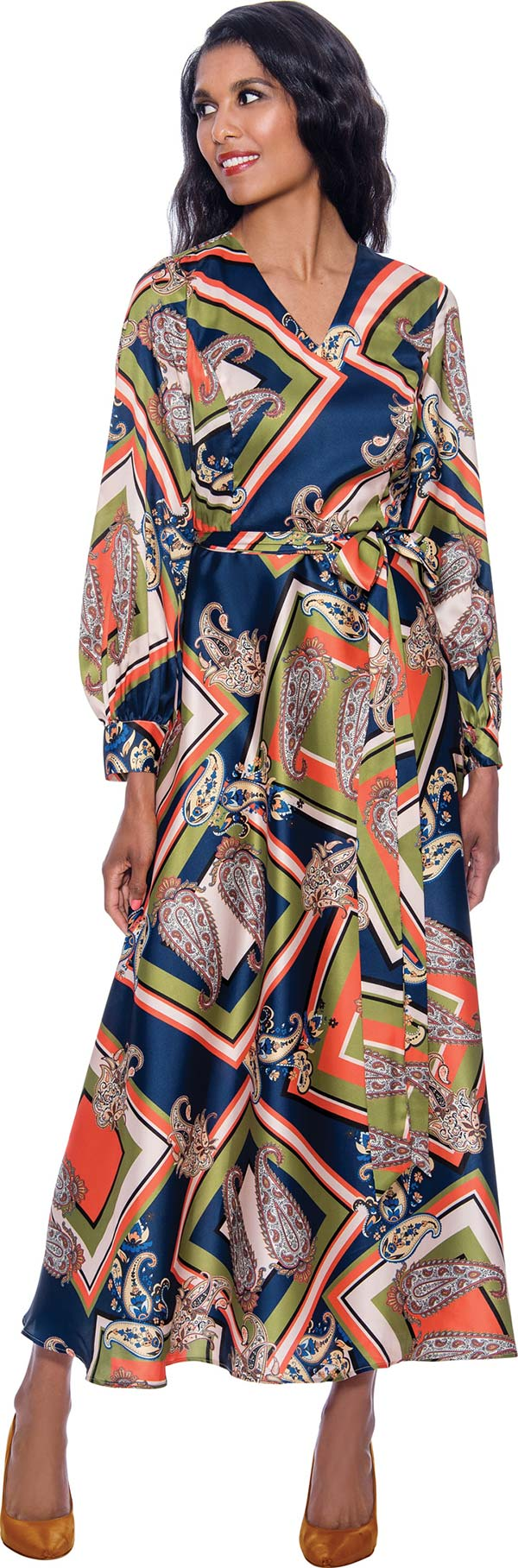 Nubiano Dresses DN1631 - V-Neck Dress In Multi-Print Design With Bishop Sleeves And Sash