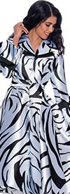 Nubiano Dresses DN1771 - Print Design Long Sleeve Button Front Notch Lapel Dress With Sash