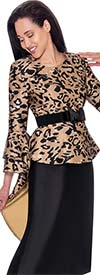 Nubiano Dresses DN2831 - Extended Peplum Style Dress With Layered Flounce Bell Sleeves In Animal Print
