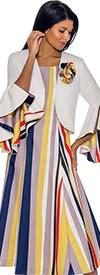 Nubiano Dresses DN2942 - Striped Sleeveless Dress With Ruffled Angel Sleeve Bolero Jacket