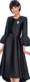 Nubiano Dresses DN3072-Black - Church Dress With Pleats & Bell Cuff Sleeve Bolero