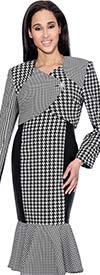 Nubiano Dresses DN3762 Asymmetric Design Dress With Houndstooth Pattern & Flounce Hem