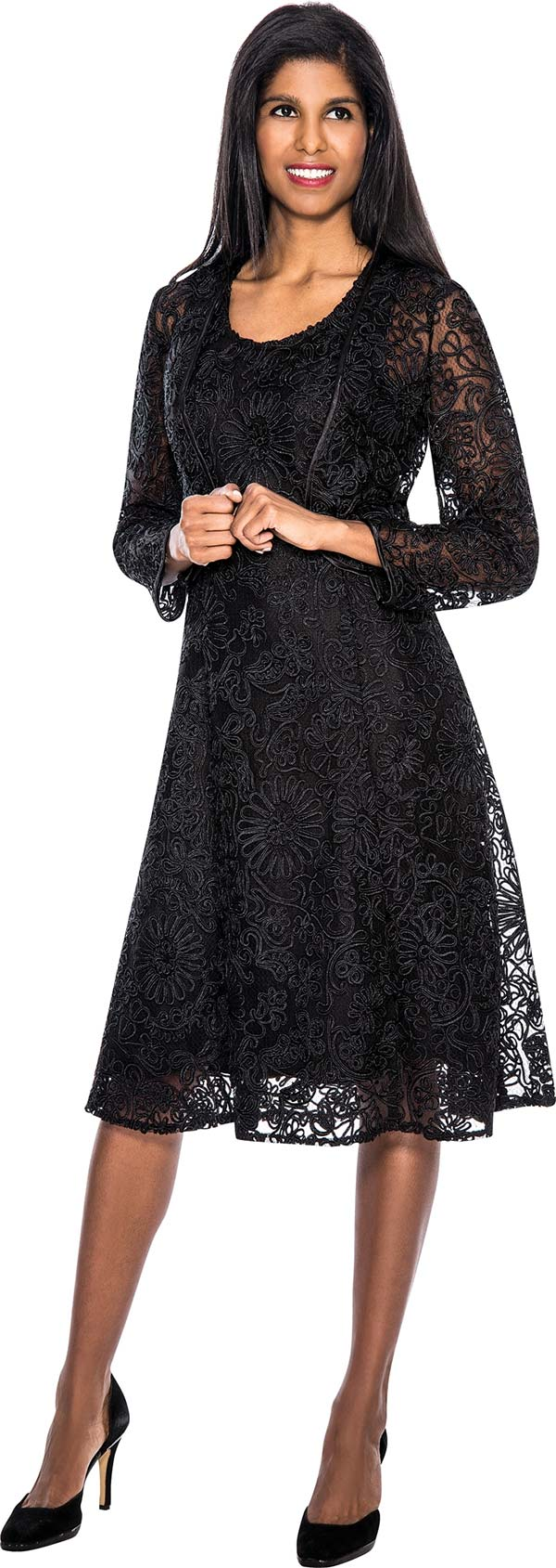 Nubiano Dresses DN5232-Black - Womens Elaborate Lace Dress