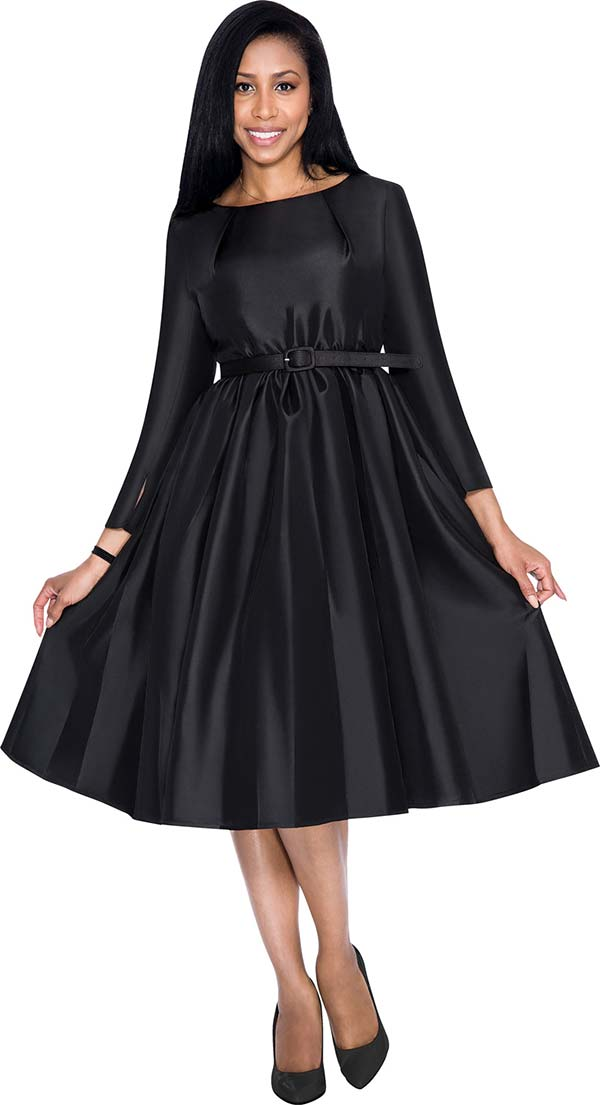 Nubiano Dresses DN5871-Black Pleated Dress With Belt