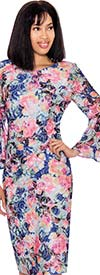 Clearance Nubiano Dresses DN2891 - Floral Printed Dress With Bell Sleeves