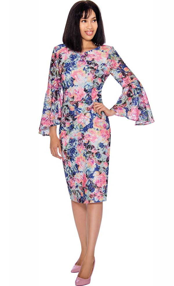 Nubiano Dresses DN2891 - Floral Printed Dress With Bell Sleeves
