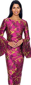 Nubiano Dresses DN2911 - Intricately Printed Church Dress With Bell Sleeves