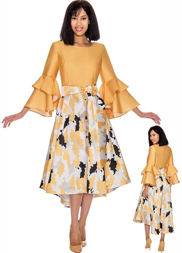 Nubiano Dresses DN2931 - Abstract Printed Dress With Double Bell Sleeves