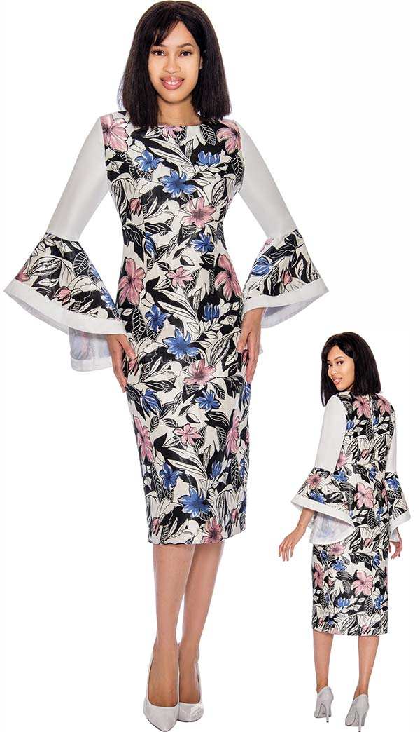 Nubiano Dresses DN2951 - Floral Print Dress With Wide Flounce Sleeves