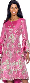 Nubiano Dresses DN2981 - Print Design Pleated Dress With Bell Sleeves
