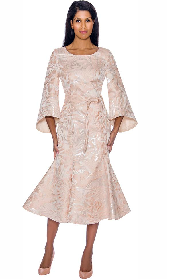 Nubiano Dresses DN2991 - Brocade Look Flared Dress With Bell Sleeves