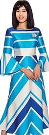 Nubiano Dresses DN3001 - Stripe Printed Dress With Bell Sleeves
